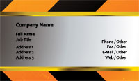 Black and Orange Caution Tape Business Card Template